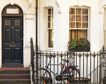 London photography, bicycle art print, London house photo - Chelsea Roads