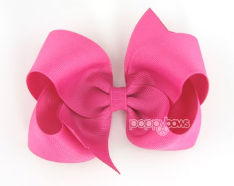 Raspberry Rose Hair Bow - 4 Inch Bows - Baby Toddler Girl Hairbows Classic Large Boutique Non Slip Alligator Clips Pink Violet