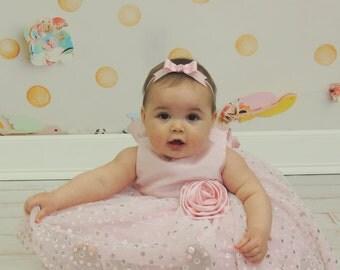 Light Pink Bow Headband - Skinny Elastic Headband in Custom Sizes - Solid Baby Pink - Newborn Baby Toddler Girl