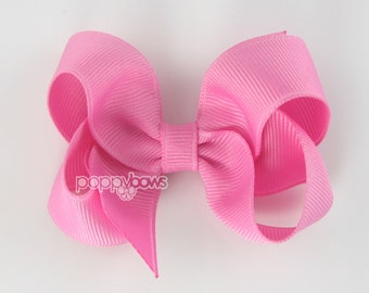 Pixie Pink 3 Inch Boutique Hair Bow - Baby Toddler Girl - Solid Color Hair Clip - Bubblegum Medium Pink