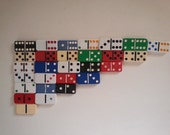 eclectic set of dominoes . retro games . complete set of dominoes . assorted dominoes . vintage dominoes . retro decor . game room decor