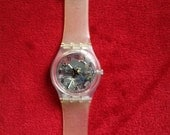 Vintage 90s Clear Swatch Watch Model GK209 in Original Box Exposed Gears