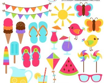 Summer Elements Clipart Set - ice cream, flip flops, sunglasses, butterflies, summer - personal use, small commercial use, instant download
