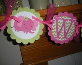 Elephant Baby Banner, Welcome Baby/Welcome Home Elephant Baby Shower Banner, hot pink green banner, Matching Tissue Poms Are Available