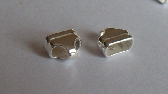 Sterling silver rectangular flat chain leather end caps