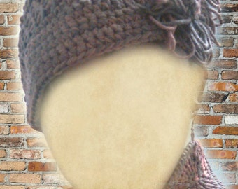 PATTERN ONLY Classy Brimmed Loom Knit and Crochet Slouch Hat PDF Pattern