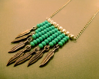 Feather Tribal Necklace: Turquoise Feather Tribal Long Necklace, Feather, Tribal, Turquoise, Beaded, Native