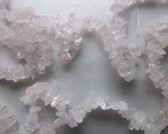 Light Pink Chip Rose Quartz Beads 4-8mm 30 Beads