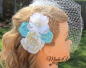 53 Different Colors - Champagne Blush Ivory Birdcage Veil-Champagne Bridal Fascinator-Wedding Headpiece