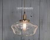 "Pendant Lighting With Large 12"" Clear Schoolhouse Glass Shade and Exposed Socket Design"