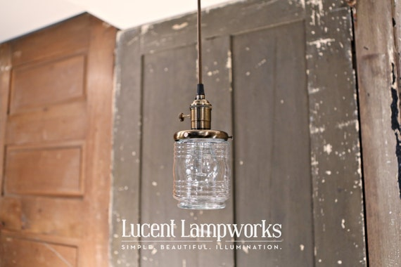 Jar Style Pendant Light in Clear Glass - 4 Inch
