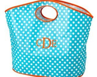 Monogrammed Beach tote Turquoise and Orange