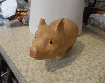 Vintage Paper Mache' Piggy Bank 1930s to 1940s Not Perfect Swine Art Deco Era