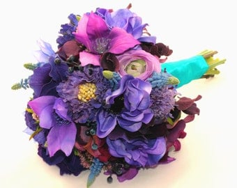 SALE Pretty as a Peacock Bridal Bouquet