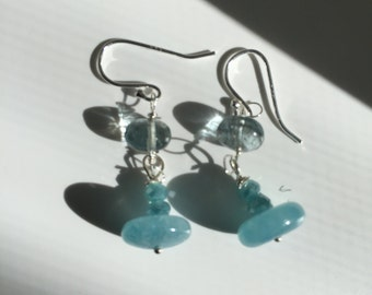 Made to order Moss Aquamarine Angelite, Silver Earrings, Something Blue, Lilyb444, Gifts for her,