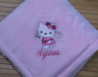 Embroidered Personalized Baby Girl Blanket Princess Angel Kitty Cat