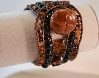 OOAK Handmade Boho Leather Wrap Statement Cuff Moss Agate, Black Onyx Bracelet Hand Beaded Womens Birthday Gift Valentines Day Gift for Her