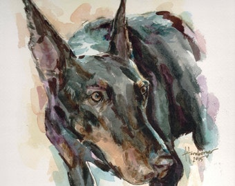 Custom Pet Portraits, Original Watercolor Painting