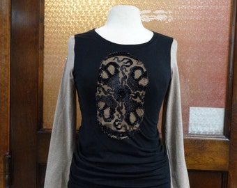Women's Long Sleeve Tshirt,Upcycled Cotton Knit Top,Bohemian Top,Eco Top,Funky Cotton Top,by Nine Muses Of Crete.
