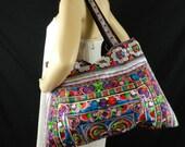 Hmong Bag, Shoulder Bag,  Hilltribe Tote, Ethnic Purse, Floral Birds Embroidered, Tribal Handbags HMT4