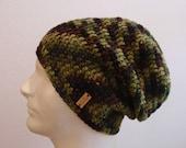 Men's Slouchy Beanie Striped Camo  Crochet Slouch Beanie Mens Brown Green Black Beanie Hipster Hat Wool Slouchy Beanie  Fall Apparel  Unisex