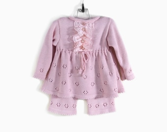 Knitted Baby Girl Dress and Pants - Pink, 9 - 18 months