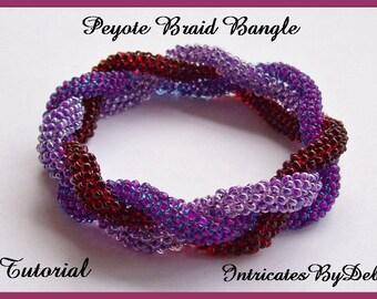 Tutorial Beaded Peyote Braid Bangle Bracelet - Jewelry Beading Pattern, Beadweaving Instructions, PDF, Do It Yourself, Download