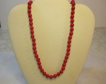 Lipstick Red Glass Bead Necklace by Monet