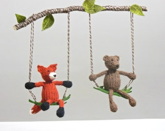 Mobile for twins, nursery mobile, Baby Mobile, Woodland Mobile, Fox Bear Mobile, Gender Neutral Nursery, Woodland Mobile, Knit Animal Mobile