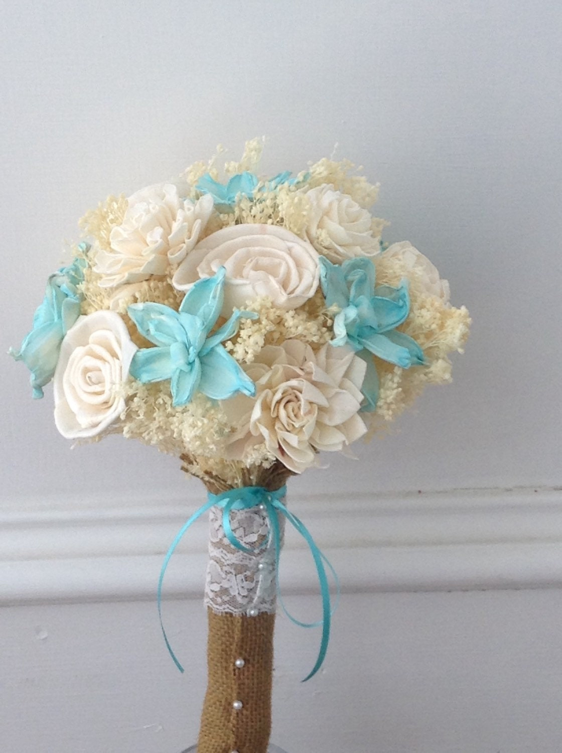 Robin Egg Blue Sola Wood Bridal Bouquet Aqua Cream Flower