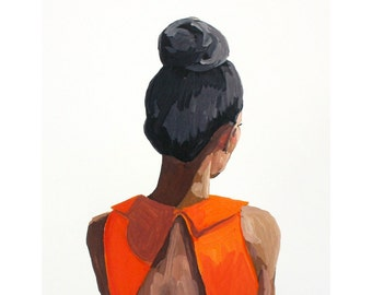 "8x10"" hair art - bun print - ""Top Knot 35"""
