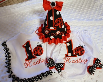 girls first birthday smash cake ladybug set in black dot and red ribbons.....bib, diaper cover, party hat