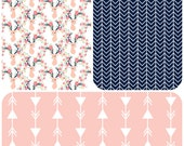 Design Your Own - Pink, Aqua and Navy Deer -  changing pad cover, rail covers, boppy covers, crib sheet, crib skirt, bumpers