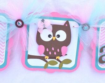 Owl birthday / i am one / highchair banner, pink, chevron, teal, photo prop