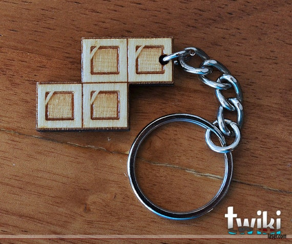 "Tetris ""S"" wood keyring OR charm accessory"