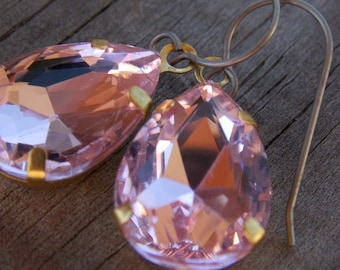 Titanium Earrings, Pink Glass Teardrops, Set in Brass with Hypoallergenic Titanium Ear Wires