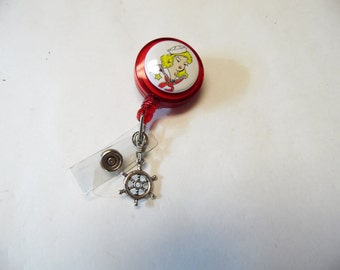 Sailor Pin Up Girl Rockabilly Retractable ID Badge Reel Red White Name Tag Holder