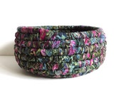 Fabric Coiled Basket, Round Storage Basket, Batik Fabric Green Blue Pink