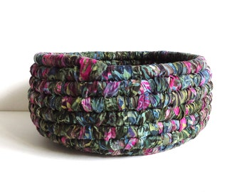Fabric Coiled Basket, Floral Batik Fabric, Green Blue Pink