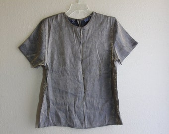 vintage shiny grey metallic top