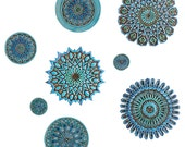 Moroccan wall art made from ceramic - Set of 8 different size turquoise carved circles - ceramic tile - turquoise wall art