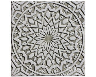 Moroccan Wall Hanging Glazed In White And Beige, Moroccan Tile Garden Art, Moroccan  Wall