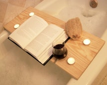 Handcrafted Wood Bath Tray - Pine Bath Caddy with tealight holder and wine glass holder - Bath Bench