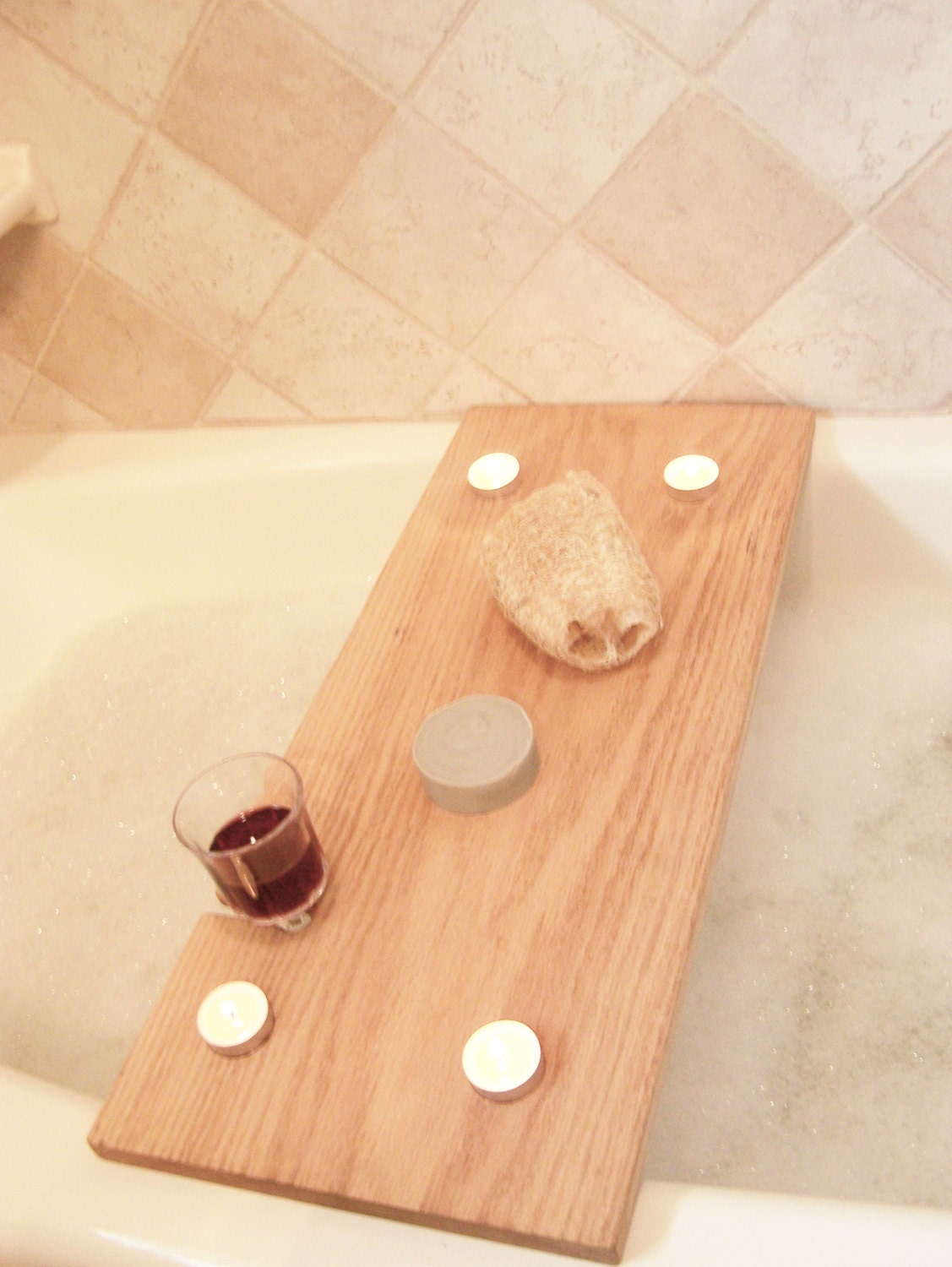 Handcrafted Wood Bath Tray   Oak Bath Caddy with tealight holder and wine glass holder   Bath Bench. Bath tray wine glass   Etsy