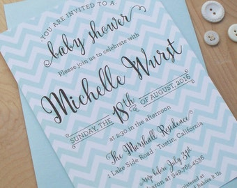 Chevron Shower invitation, digital invitation file, modern invitation, party invitation, wedding shower, baby shower