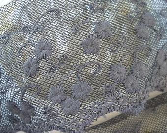 """Gorgeous Gray Embroidered applique on Net Lace Trim 2.25"""" wide Shirt skirt extender edging retro yardage peekaboo slip lace tulle yards"""