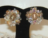 1950s  60s Aurora Borealis Crystal Glass  /  Gold Filigree / Clip On Earrings /  Mad Men / Prom
