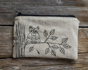 Hand Painted Owl Zipper Pouch, Natural Linen and Cotton, Nature Inspired Cosmetic Bag, Woodland Accessories