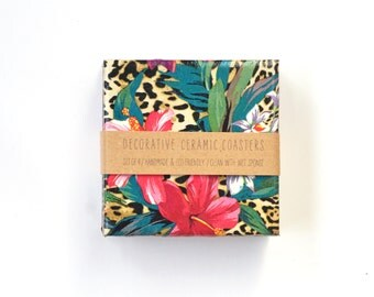 Tropical Jungle Coasters Exotic Wild Orchidea Animal Print Summer Drink Tile Coasters
