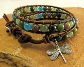 Bayou Woman Dragonfly Leather Wrap Bracelet